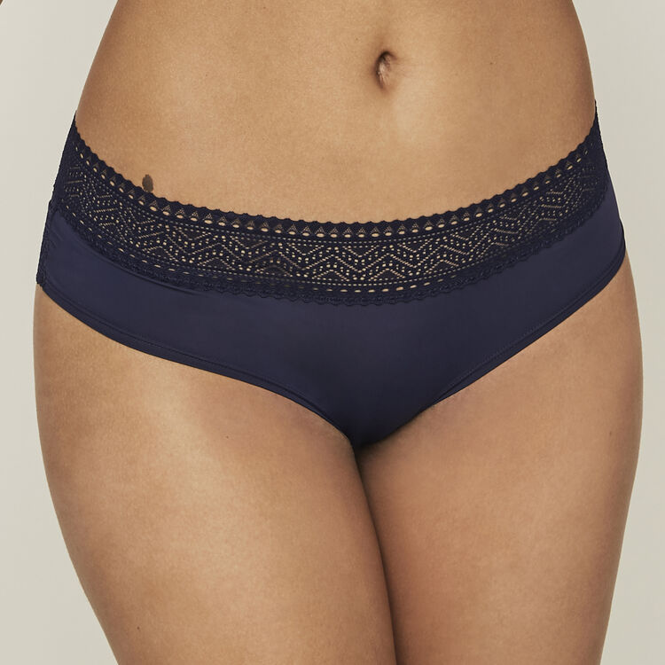 Shorty micro/dentelle peachiliz bleu marine.
