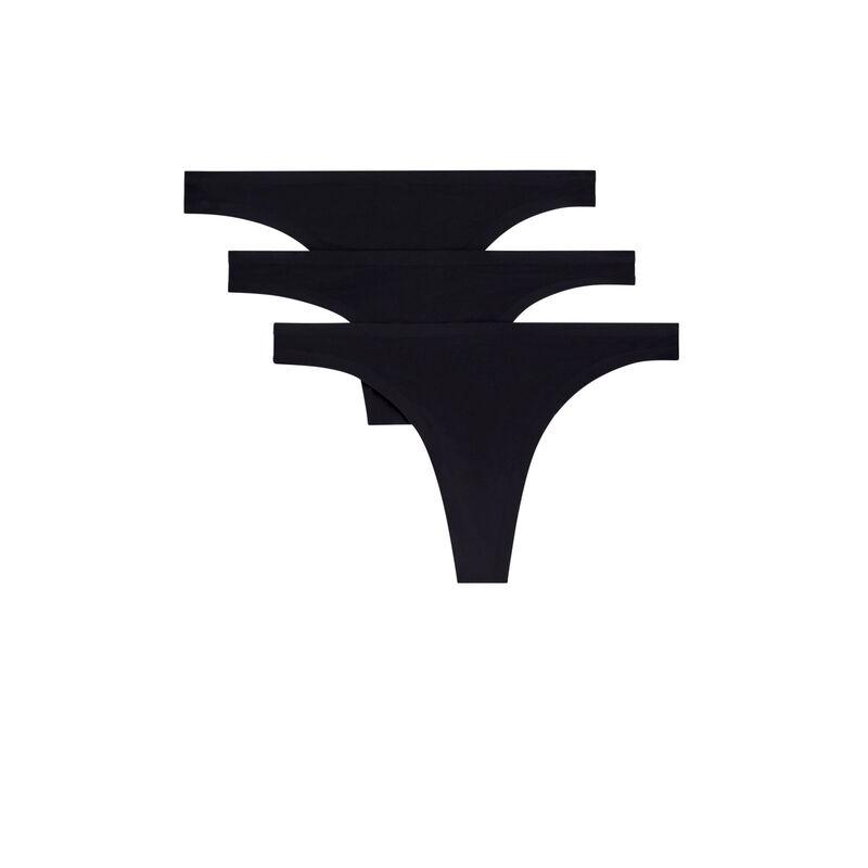 黑色微纤维丁字裤三条装;
