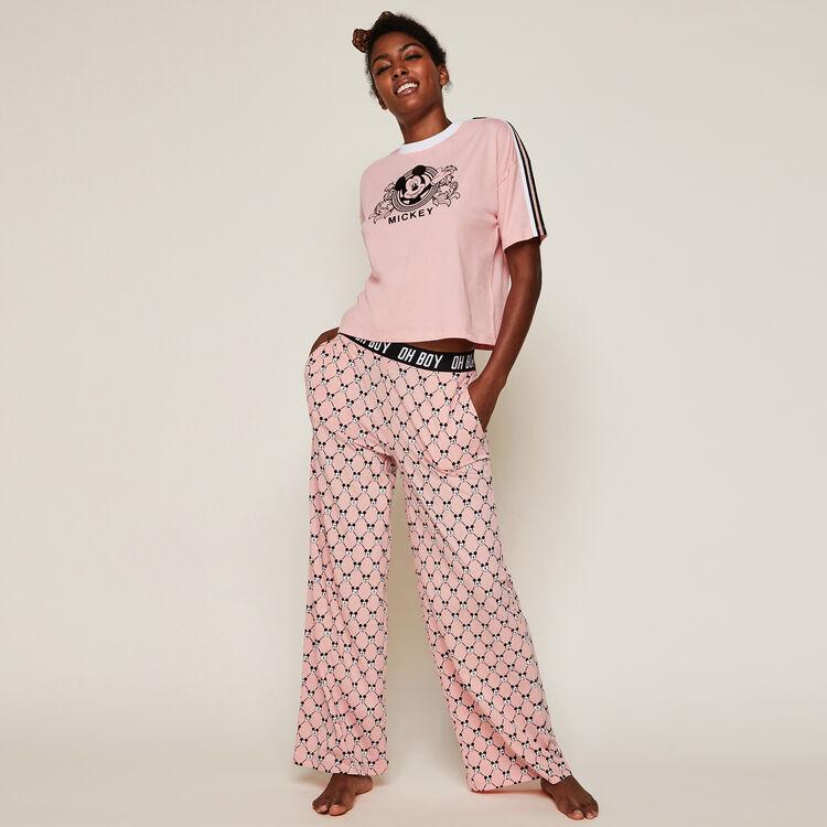 Pantalon large logo mickey versaqueeniz rose.