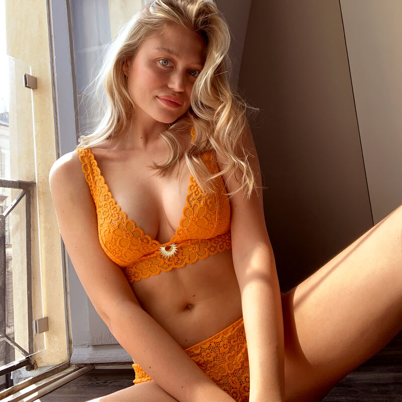 Soutien-gorge triangle sans armatures - orange;