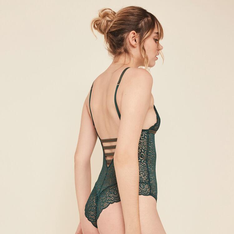 Body sans armatures en dentelle lurexbandiz vert.
