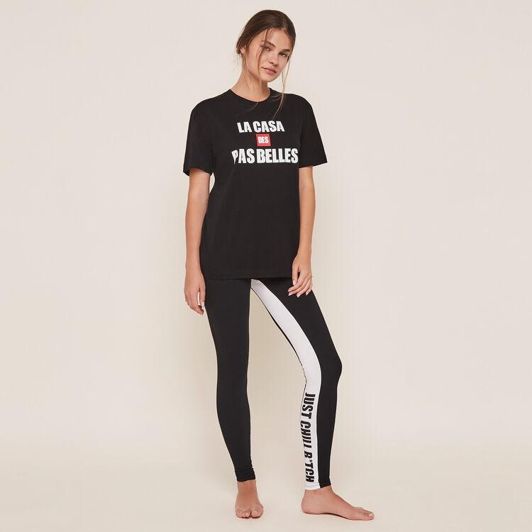 Pantalon en jersey détail bande depabelliz noir.