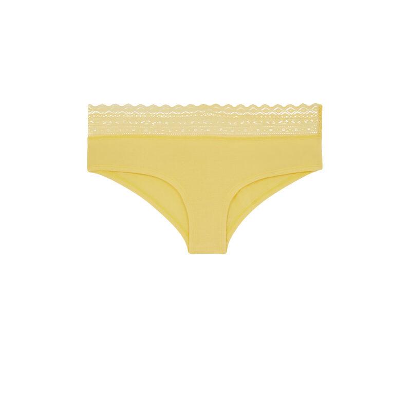 Shorty uni en coton - jaune pastel;