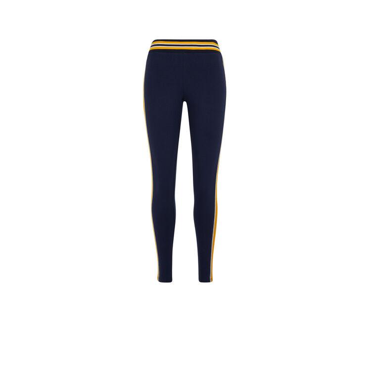 Legging jersey bandes côtés cooleggiz bleu marine.