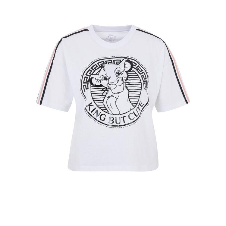 Top à manches courtes licence roi lion bunversiz blanc.
